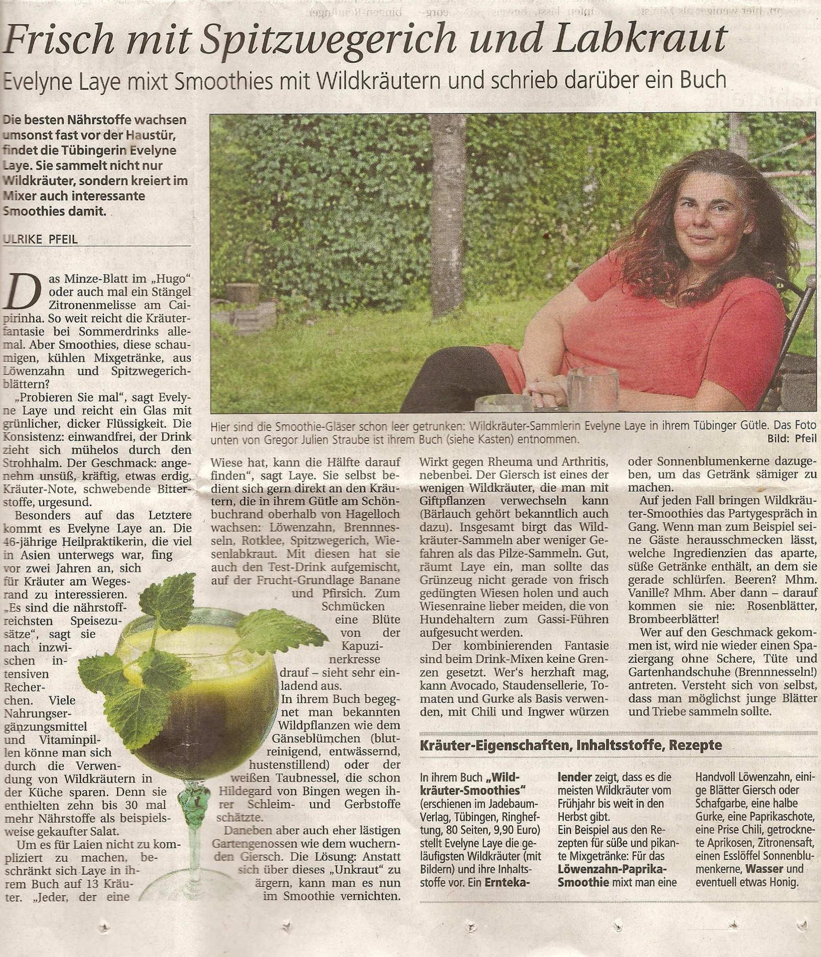 Zeitungsartikel im Tübinger Tagblatt